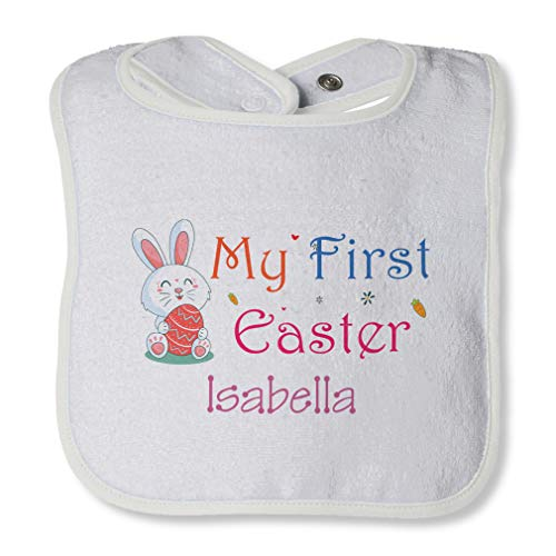 Personalized Custom My First Easter Bunny Cotton Boys-Girls Baby Terry Bib Contrast Trim - White, One Size