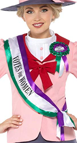 - Ladies Girls Suffragette Historical Victorian Sash Rosette School Play Hen Do Night Party Fancy Dress Costume Accessory Kit