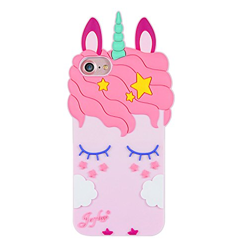 Joyleop Pink Unicorn Case for iPhone 5 SE 5S 5C,Cartoon Silicone Cute Animal 3D Cool Fun Cover,Kawaii Character Fashion Unique Kids Girls Cases,Soft Rubber Shell Protector Cases for iPhone5 iPhone5S (Pink 5s Case Iphone)