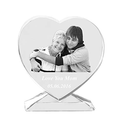 (Qianruna Personalized Custom 2D/3D Laser Photo Engraving Crystal Glass Heart with Stand,Best Gifts for Wedding and Anniversary)