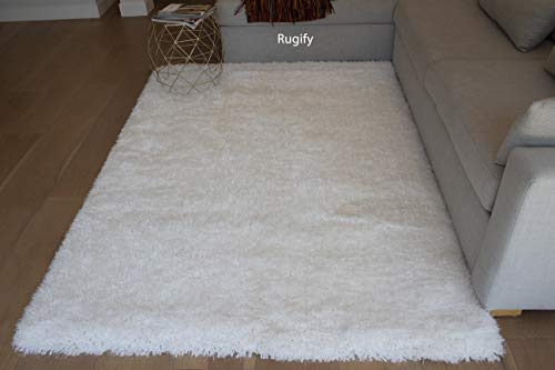 LA Mix of Thick Thin Shag Flokati Epic Solid Plush Shag with Canvas Backing Decorative Designer 5-Feet-by-7-Feet Polyester Made Area Rug Carpet Rug Pure White ()