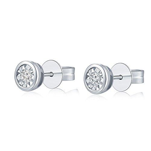 Or blanc 18carats 750simple élégant diamant solitaire Boucles d'oreilles clous (0.09ct, Couleur H-I Clarté, SI2-SI3) femmes bijoux anniversaire cadeau de mariage