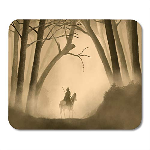 Emvency Mouse Pads Hero Warrior on Horseback in Foggy Forest Fantasy Painting Journey Dark Mouse pad 9.5
