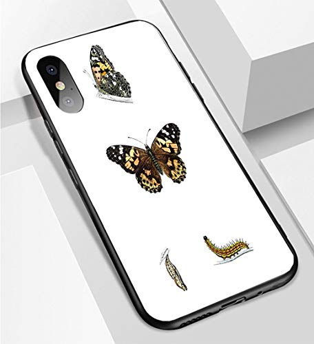 iPhone X/XS Ultra-Thin Phone case Painted Lady Hand Coloured Engraving Anti-Drop Anti-Slip Soft Convenient Protective ()