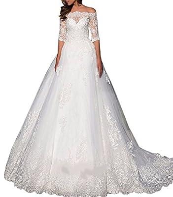 Ethel Women's Boat Neck Applique Empire Chapel Train Half Sleeves Wedding Dresses