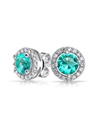 Bling Jewelry Simulated Aquamarine CZ Round Stud Earrings Sterling Silver