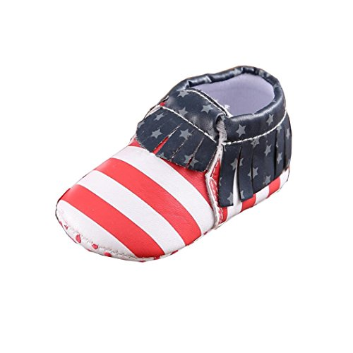 Amiley Baby Girls Boys Soft Sole Leater Shoe Soft Bottom Shoes America Flag gift Flats Shoes (Inches:5.1