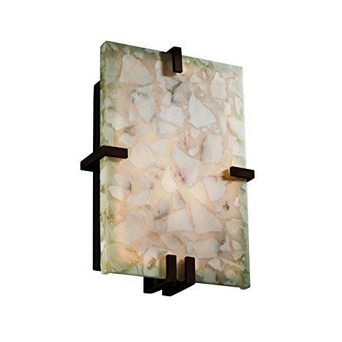 Clips Justice Design Group (Justice Design Group ALR-5551-NCKL Alabaster Rocks! Collection ADA Clips Rectangle Wall Sconce)