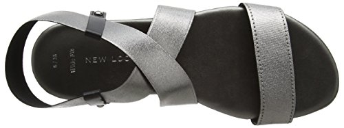 Foot New Plateado Gunmetal Harriet con Look Sandalias Mujer Punta Pewter Wide Abierta TSqr76T