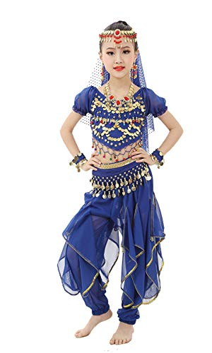 Gilrs Halloween Costume Set - Kids Belly Dance Halter Top Pants with Jewelry Accessory for Dress Up Party(Royal Blue,M)