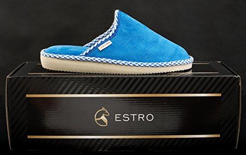 Estro Gem Damenschuhe Hauspantoffeln Wildlederschuhe Blau