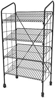 Mild Steel Black 19406-NF 4 Wire Gravity Shelves FixtureDisplays 24.3 x 49.1 x 14.7 Bakery Display Rack w//Wheels