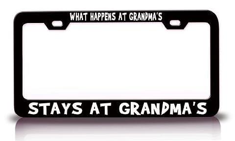 License Plate Covers What Happens At Grandma'S Stays At Grandma'S Humor Funny Fun Metal License Plate Frame Tag Holder Black