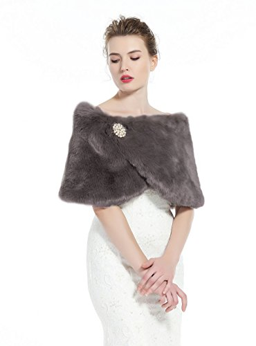 Faux Fur Wrap Shawl Women's Shrug Bridal Stole for Winter Wedding Party Free Brooch Stone Gray