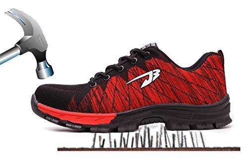 Axcer S3 Scarpe da Lavoro per Uomo e Donna Comodissime Traspiranti Scarpe Antinfortunistiche con Punta in Acciaio Calzature da Cantiere Stivali da Escursionismo Scarpe Sneaker Sportive di Sicurezza Nero+rosso