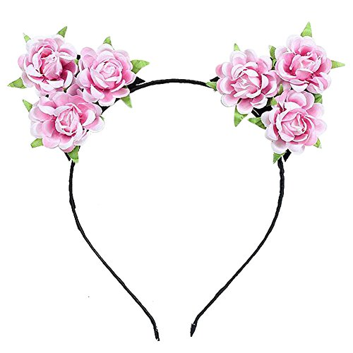 Auranso Rose Flower Devil Cat Ears Headband Costume Party Fancy Dress Cosplay (Holloween Costumes Bridal)