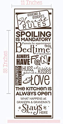 Wall Décor Plus More Grandma & Grandpa's House Rules Vinyl Letters Grandparent Home Decor Gift Wall Stickers 33x11-Inch Chocolate Brown