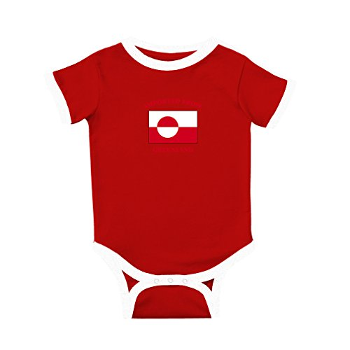 Cute Rascals Imported from Greenland Greenlander Cotton Short Sleeve Crewneck Unisex Baby Soccer Bodysuit Sports Jersey - Red, 6 Months Greenland Body