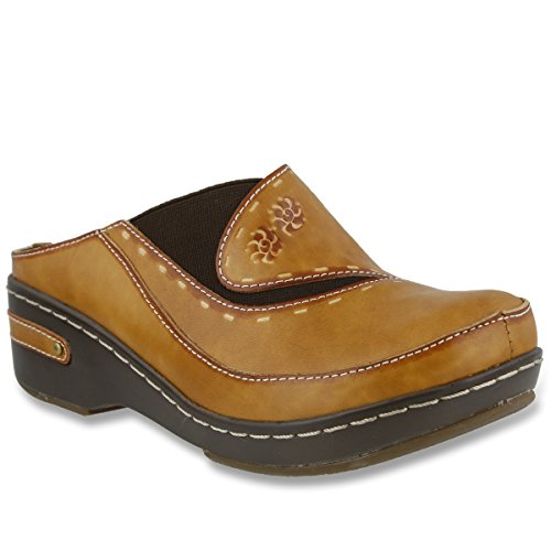 L'ARTISTE Women's Chino Clog   Hand Painted Leather Natural