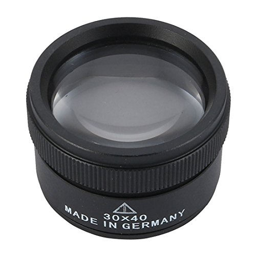 uxcell 30x40mm Magnifier 30X Jewelry Loop Magnifier Reading Magnifying Glass Eye Glass Lens Black