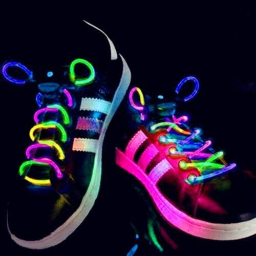 BLagenertJ LED Flash Luminous Light Up Glow Strap Shoelace Shoe Laces Party Disco Decor for Sneaker Boots Board Shoes and Casual Shoes Colorful]()