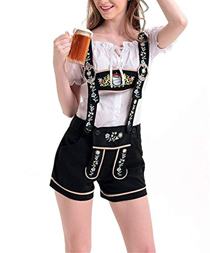 M_Eshop Women's Oktoberfest Costume Lederhosen Beer Girl Costume Sexy Maid Halloween Party (US -