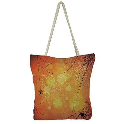 Hand Cotton and Linen Bag Shoulder Bag,Halloween,Spooky Halloween Pumpkins on Wood Table Dramatic Night Sky Print Decorative,Dark Blue Light Blue Yellow,3D Print -