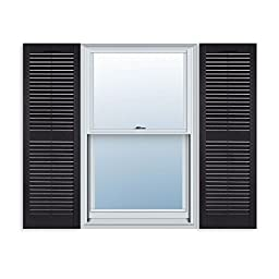 15 Inch x 55 Inch Standard Louver Exterior Vinyl Window Shutters, Black (Pair)