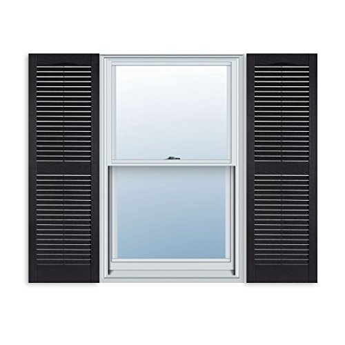 ExteriorSolutions.com Custom Exterior Vinyl Louver Window Shutters w/Installation Spikes (Pair)