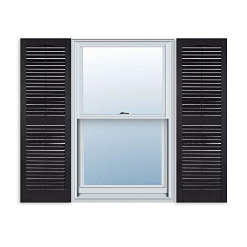 15 Inch x 59 Inch Standard Louver Exterior Vinyl Window Shutters, Black (Pair) - Exterior Shutter