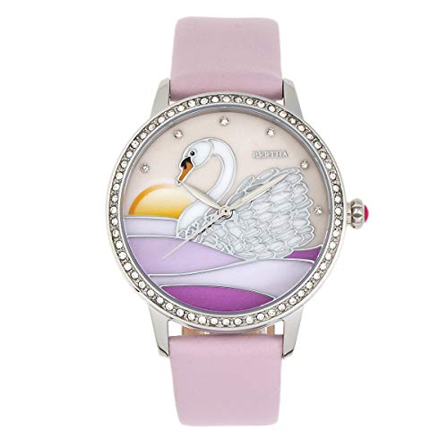 Bertha Grace Quartz Swan MOP Dial Pink Genuine Leather Women's Watch BTHBR9002