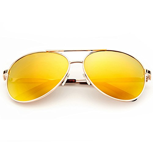 Aviator Sunglasses for Women, Polarized Gold Mirrored Lens, UV400 - Glasses Polariod