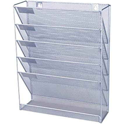 1f97b4f712 o d Mesh wall literature holder 5 A4 compartments Silver  Amazon.co.uk   Office Products