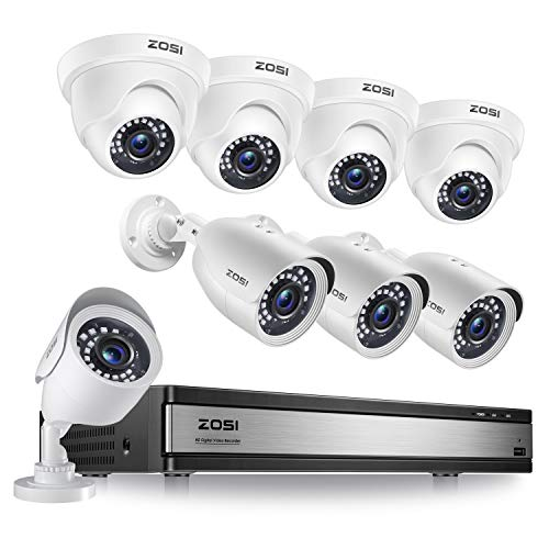 ZOSI H.265+ 1080p 16 Channel Security Camera System, 16 Channel DVR Recorder and 8 x 1080p Weatherproof Surveillance CCTV Bullet Dome Camera Outdoor Indoor, 80ft Night Vision, 90° View Angle (No HDD)