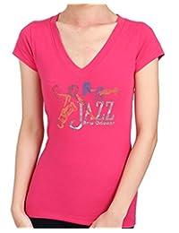 3MEN JAZZ New Orleans Hand-Made Foil Print/ Rhinestone/ Stud Women's T-Shirts