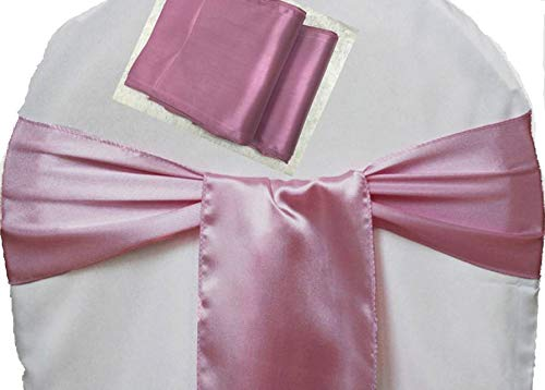 mds Pack of 50 Satin Chair Sashes Bow sash for Wedding and Events Supplies Party Decoration Chair Cover sash -Dusty Pink -