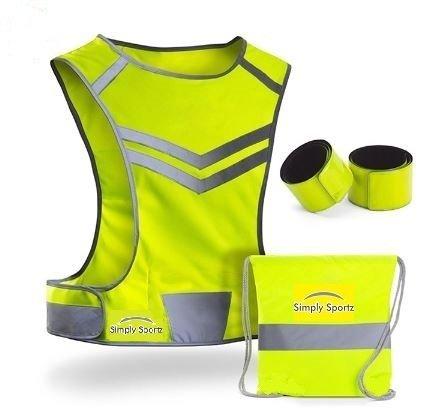 反射ベストfor Runningサイクリング犬ウォーキング|高可視性超軽量快適| Reflective Running Vest Withポケット|オートバイ安全vest| Bike Reflectorベスト| 2 Armbands & Carryバッグ B01N22RFJ3 ネオンイエロー Large/X-Large