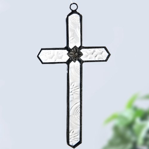 J Devlin Orn 183-2 Stained Glass Cross Ornament Window Sun Catcher Vintage (Small Cross Ornament)