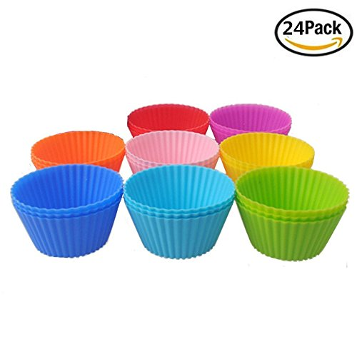 [Yamde 24 Pcs Reusable Silicone Baking Cups For Cake Muffin Molds,Cupcake Liners (8 colors)] (Homemade Halloween Decorations Made From Paper)
