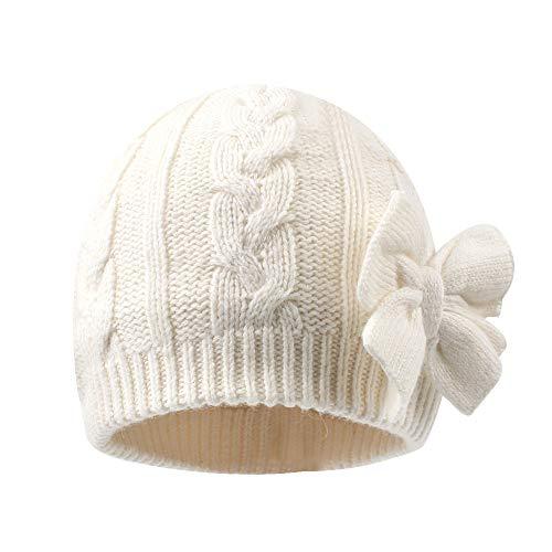 Baby Girls Knit Hats Toddler Infant Beanie Caps Autumn Winter Warm Skull Hood Cap (M, White)