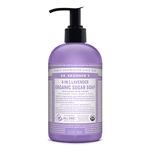Dr. Bronner's 4-in-1 Organic Sugar Soap, Lavender, 12 Ounce, Pack of # 1