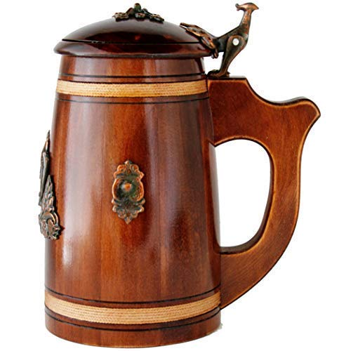 Medieval German style Huge Beer Stein with Lid 27 oz. Renaissance Oktoberfest Wooden Mug. Old Times Tall Coffee Drinking Cup. Authentic Giant Wood Tankard with Handle. Men, Fathers Day, Birthday -