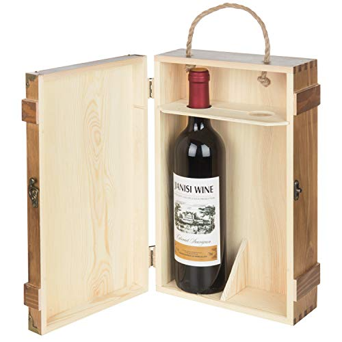 MyGift 2-Bottle Rustic Wood Wine Carrier with Rope Handle