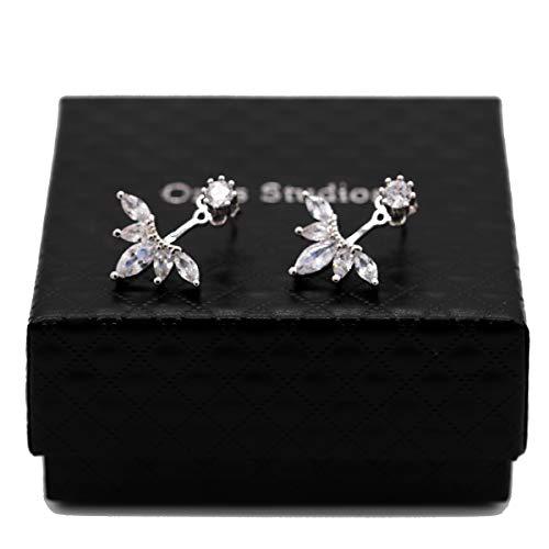 (Orris 18K White Gold Double Side Shinning Diamond Flower Ear Jacket Stud Earrings Set)