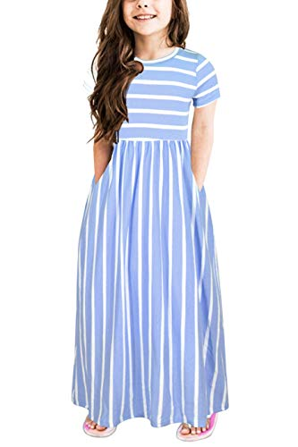 Gorlya Girl's Short Sleeve Floral Print Loose Casual Holiday Long Maxi Dress with Pockets 4-12 Years (7-8Years/Height:130cm, Blue Stripe) -