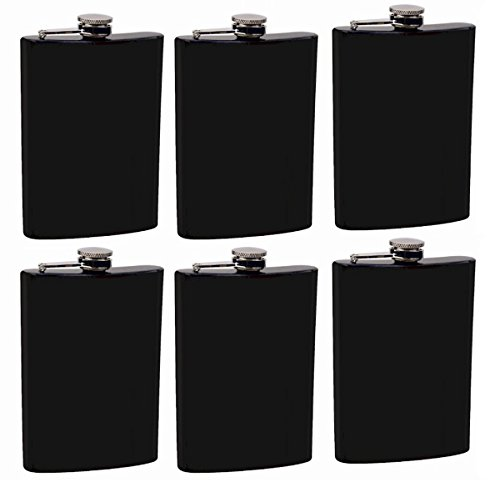 Gifts Infinity Set of 6 8oz Black Stainless Steel Groomsman, Bridesmaid Flask ()