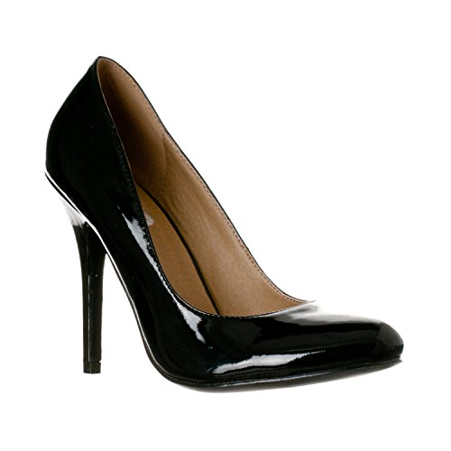 Riverberry Women's Piper Round Toe, High Heel Pumps, Black Patent, ()