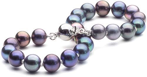 HinsonGayle AAA Handpicked 7.5-8mm Multicolor Black Round Freshwater Cultured Pearl Bracelet Silver-7.5 in length