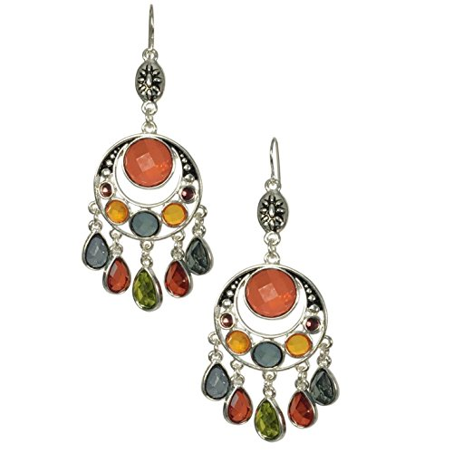 Long Multi Color Jewel Tones Silver Tone Boutique Style Dangle Earrings -Assorted Shapes (Round)