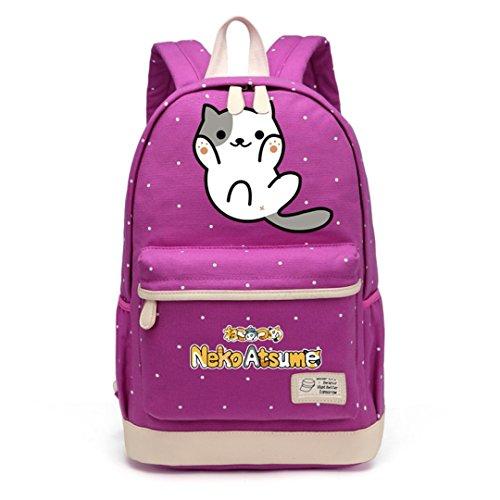 Cute Cute Cat Cat Canvas Bag Flower Wave Backpack -
